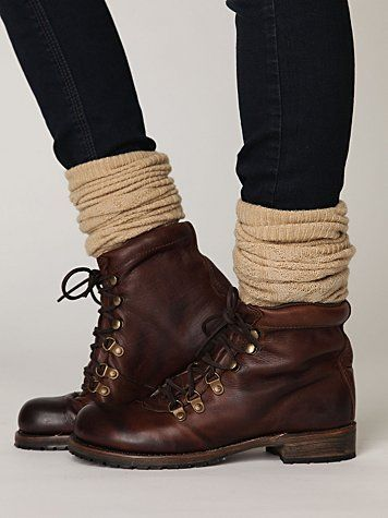 "great way to wear short ""clunky boots"" - add bunched up socks, so little ankles don't look like Olive Oil legs...."