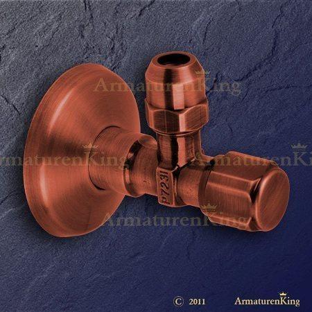 Eckventil Altkupfer DN 15 für Anschluss G 3/8 und 10 mm Durchmesser selbstdichtend mit Schubrosette. Waschtisch-Eckventil in jeder Farbe preiswert bestellen