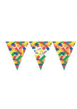Lego vlaggenlijn slinger Happy Birthday