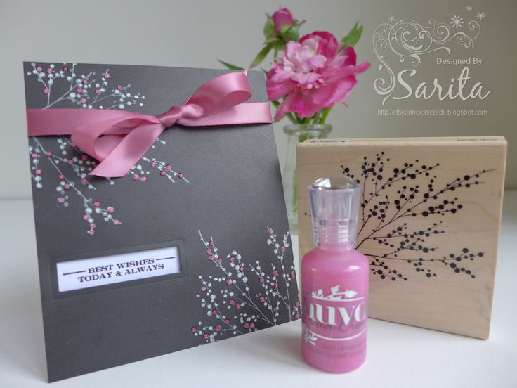 Feminine handmade card idea, using Penny Black Winter Berries stamp, Nuvo Crystal drops in pink, dark grey card with pink satin ribbon,
