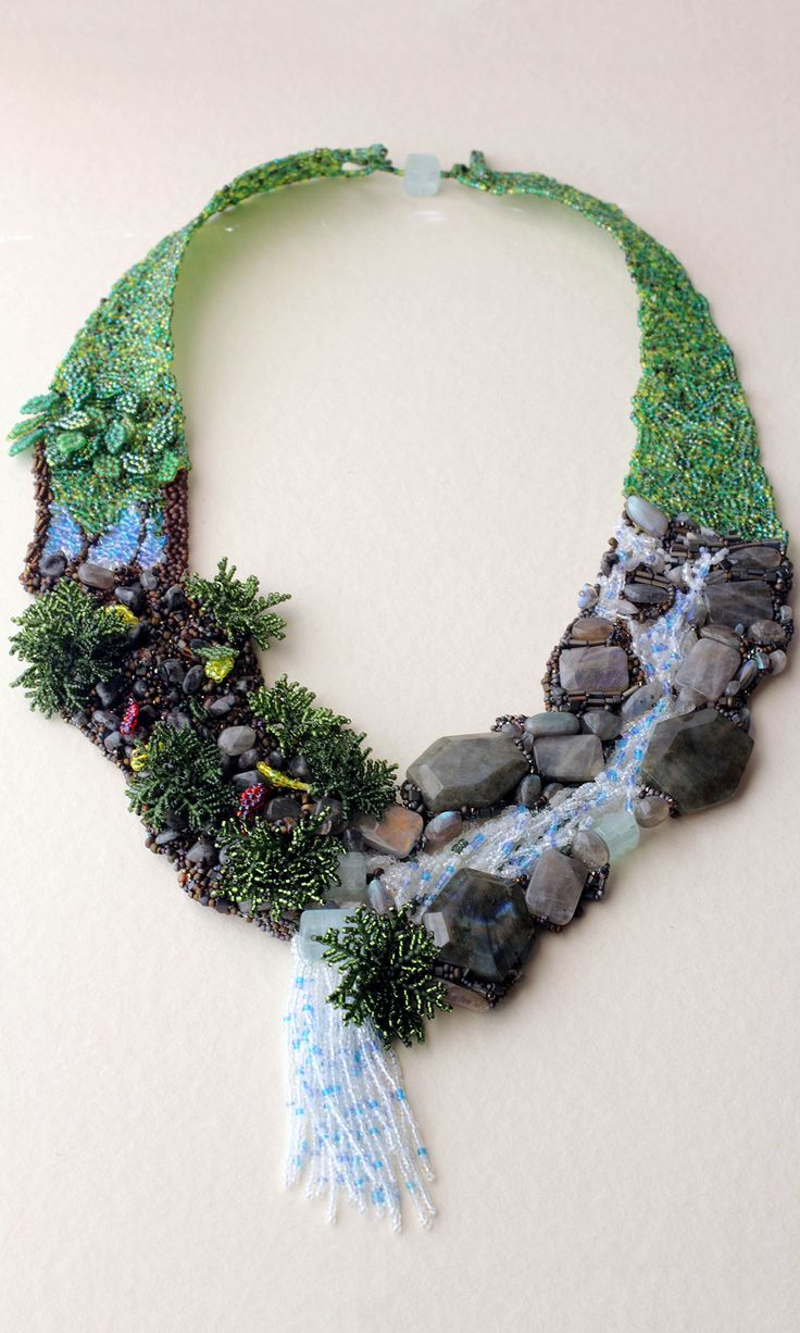 jewelry design bib style necklace with seed beads and gemstone beads fire mountain - Beaded Bracelet Design Ideas