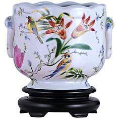 Tropical Birds Hand-Painted Porcelain Cachepot