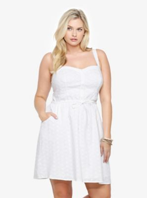 Eyelet Button-Front Tank Dress