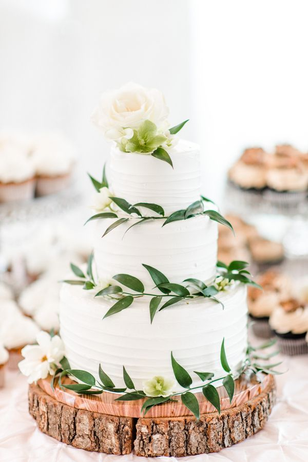 Clean And Simple Greenery 3 Tier Wedding Cake With A Rustic Vibe