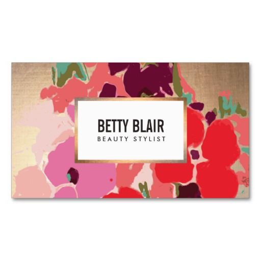 Great for cosmetologists, makeup artists, hair stylists, fashion boutiques, beauty salons, florists and more. Fully customizable business card.