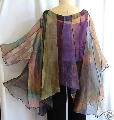 Lovely scarves deconstructed into a blouse…use chiffon curtain fab at thrift stores