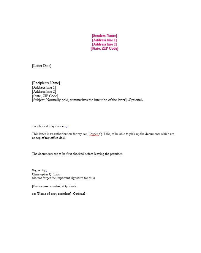 free authorization letter samples amp templates template sample letters archives page