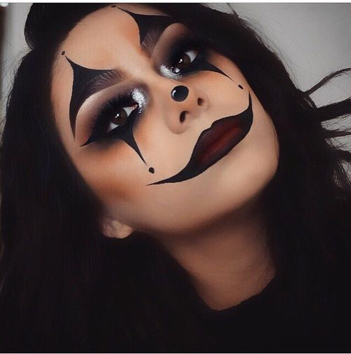 Halloween makeup inspiration. Black clown. Cheshire Cat. Joker mouth