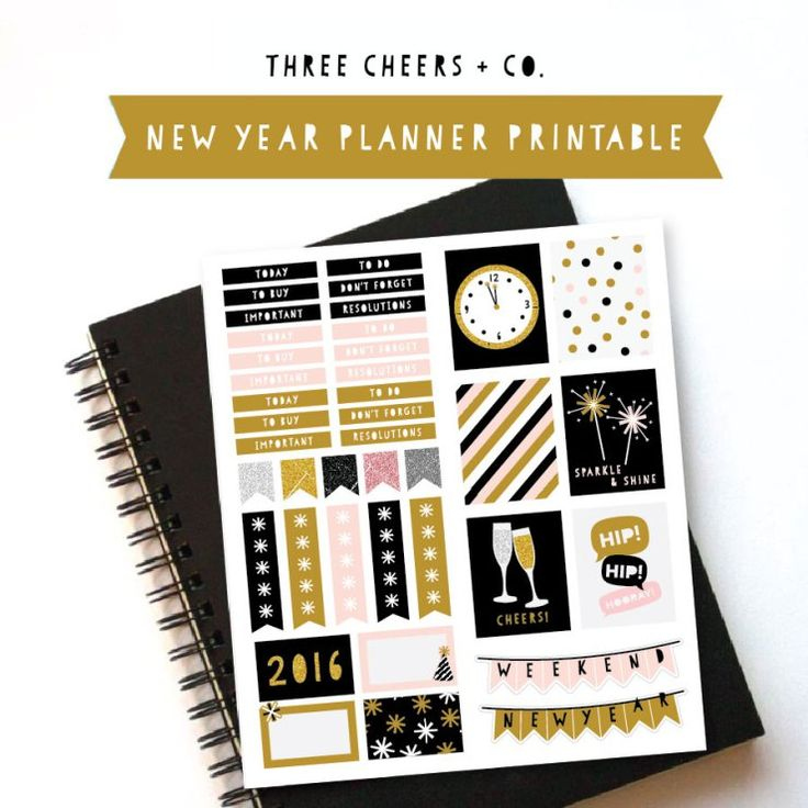 New year planner stickers three cheers co planner for Planner co