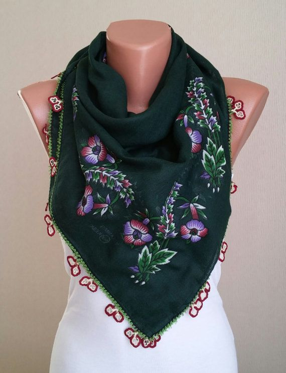 Turkish Oya Black Scarf, Square,Hand Crocheted Lace , Ethnic