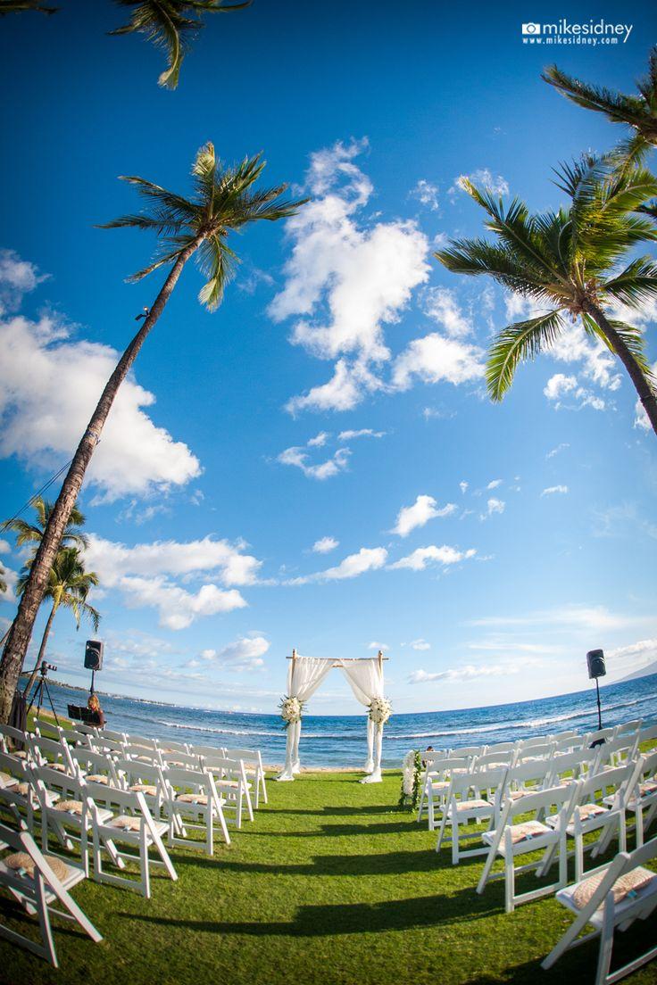 Hyatt Regency Maui Resort & Spa wedding setup by Hawaiian Rents with 4-post bamboo wedding arch / www.hawaiianrents.com