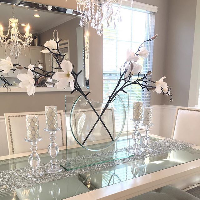 25 best ideas about glass dining table on pinterest for Dining table decoration ideas home