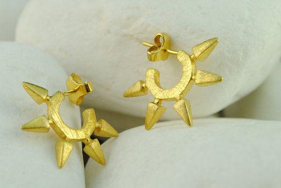 Spike Gold Plated Sterling Silver #Huggie #Earrings