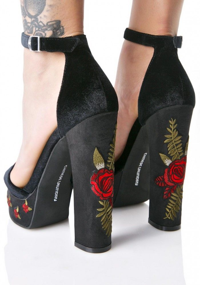 Chinese Laundry Ariana Velvet Embroidered Platforms