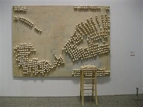 Panel with Eggs and Stool - Marcel Broodthaers
