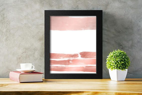 Pink Abstract Wall Art in Rose Gold.  Add a modern touch to any decor with rose gold brushstrokes art.  Just download, print, and hang!   #moderndecor #rosegoldart #shopsmall