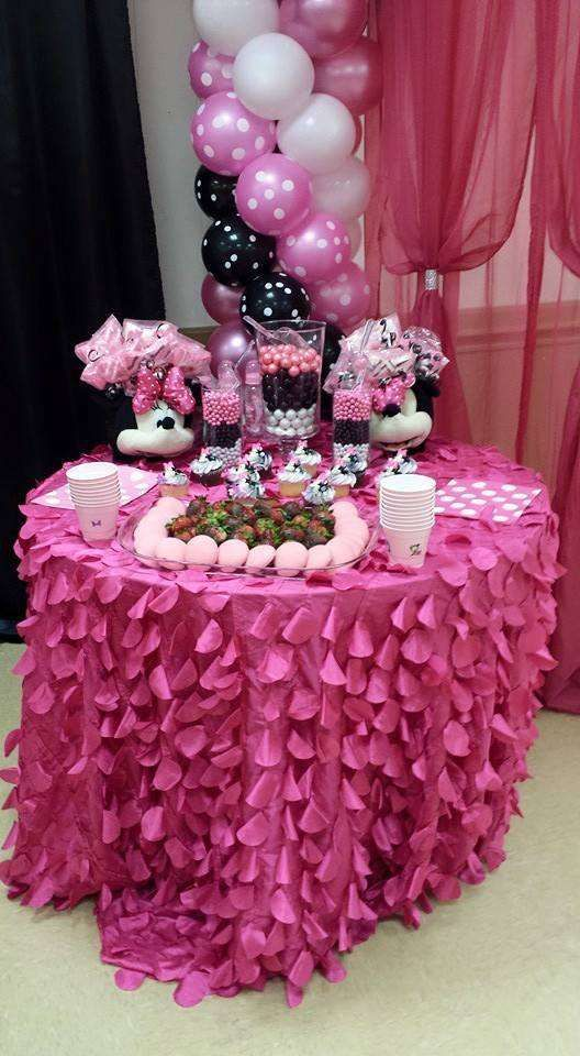 Treats at a Minnie Mouse baby shower party! See more party planning ideas at CatchMyParty.com!