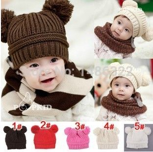 10pcs lot Toddler Baby Dual Ball Wool knit Caps Infant Boys Girls Handmade Hats Children Cotton Cap //Price: $US $21.32 & FREE Shipping //     #bags