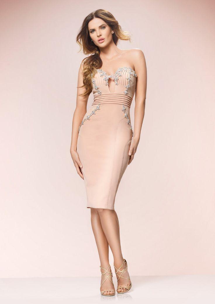 ADELE - Nude Strapless Pencil Dress