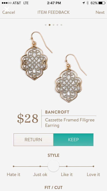 Bancroft Cazzette Filigree earring.  Stitch fix