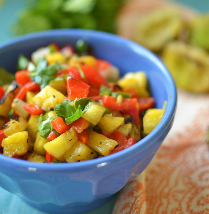 Grilled Pineapple Salsa - This entire salsa is grilled, even the limes ...