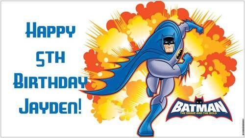 DC Comics Custom Vinyl Batman Birthday Party Banner + Child's Name - A beautiful showpiece for your child's birthday and a wonderful keepsake. Dimensions: 3' x 1.6' Printed on high quality, white 10oz. vinyl, which is flexible material with a matte finish and is fade-resistant, tear-resistant, and flame-retardant. Banners are professionally printed and are shipped rolled. Your banner will never be folded, so it will have no creases. $29.95