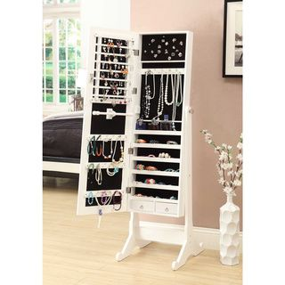 White Wooden Cheval Mirror with Jewelry Armoire Cabinet | Overstock.com Shopping - The Best Deals on Armoires
