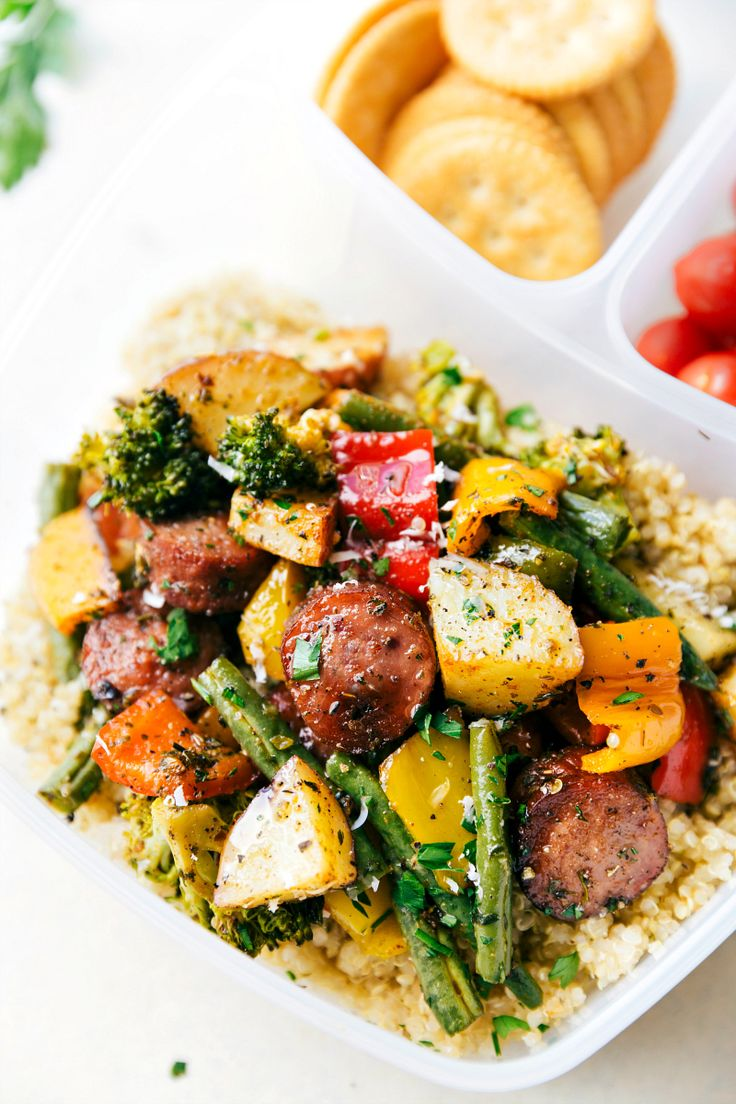 Healthy garlic parmesan roasted veggies with sausage and herbs all made and cooked on one pan. 10 minutes prep, easy clean-up! GREAT MEAL PREP IDEA. Recipe via chelseasmessyapron.com