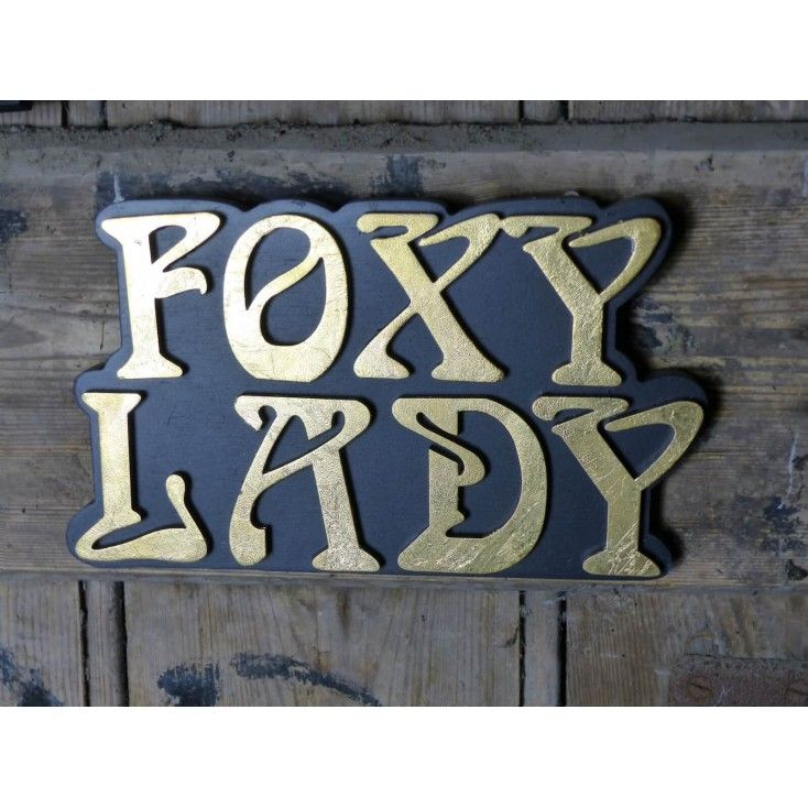 Wooden Plaque thats Black gold leaf Sexy beast signs Foxy lady wall sign gift for the lady in your life, this sign the best retro vintage presents UK online