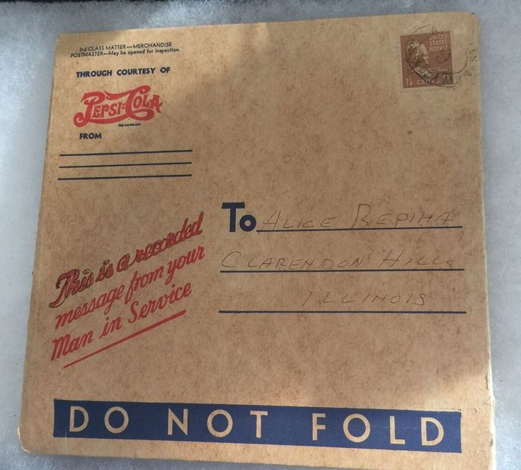 WWII Pepsi-Cola 45 Record Voice Recording Of Your Man In Service Original Mailer  | eBay