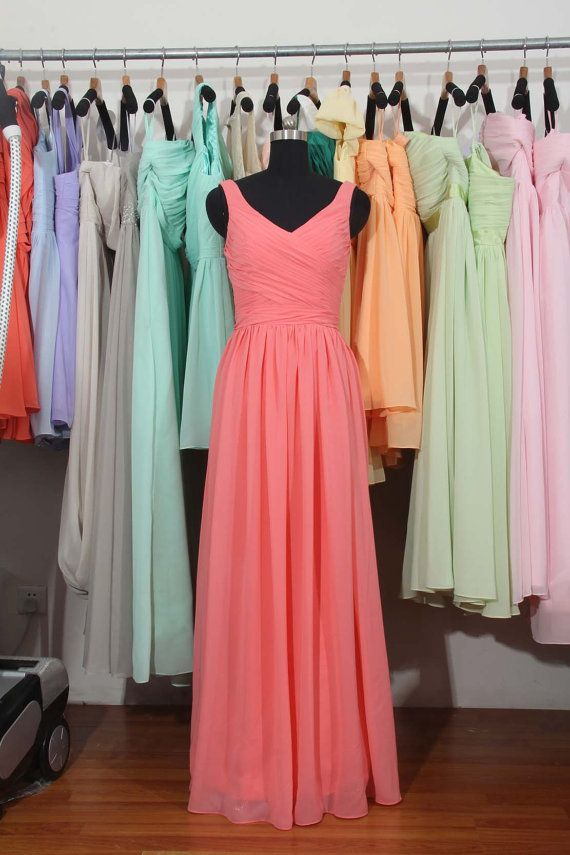 Coral Long Bridesmaid Dress, A-line Chiffon Bridesmaid Dress on Etsy, $119.61 AUD