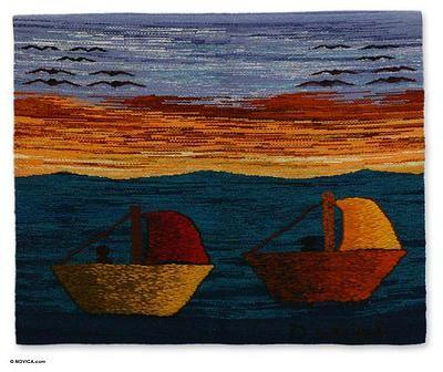 Wool tapestry, 'Peruvian Coast' by NOVICA