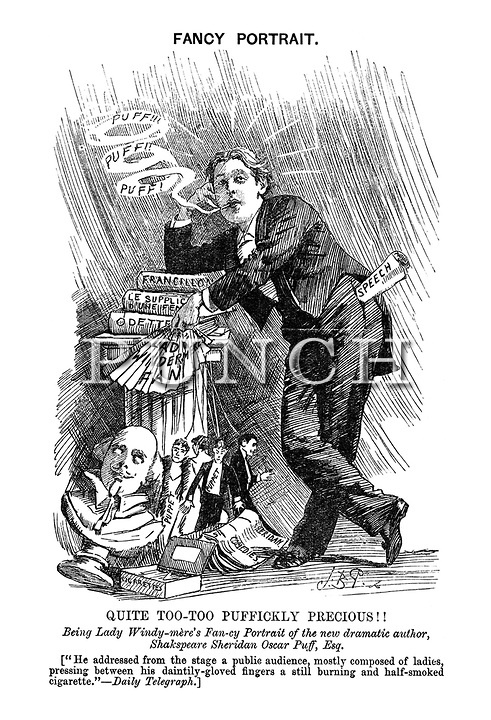 """On This Day in 1895 the Oscar Wilde trial for homosexuality started - Punch magazine Fancy Portrait: """"Quite Too-Too Puffickly Precious!! Being Lady Windy-mere's Fan-cy Portrait of the new dramatic author, Shakespeare Sheridan Oscar Puff, Esq."""" - Punch magazine cartoon by Bernard Partridge, 1892"""