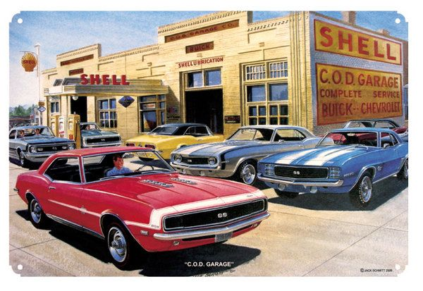 Shell Gas Station, Classic Mustangs, C.O.D. Garage by Jack Schmitt, Metal Sign, Hot Rod, Gas Oil Garage Art, FREE Shipping JS-5 by HomeDecorGarageArt on Etsy