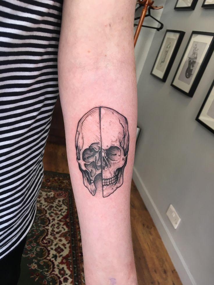 First tattoo - Da Vinci Skull - Tom @ Blackdot Tattoos - Glasgow