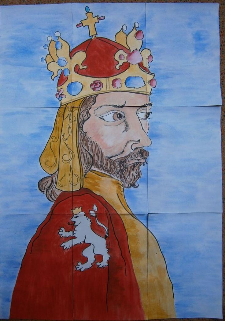 plakát (88x63cm) k vytvoření skládacích obrázkových kostek - Karel IV