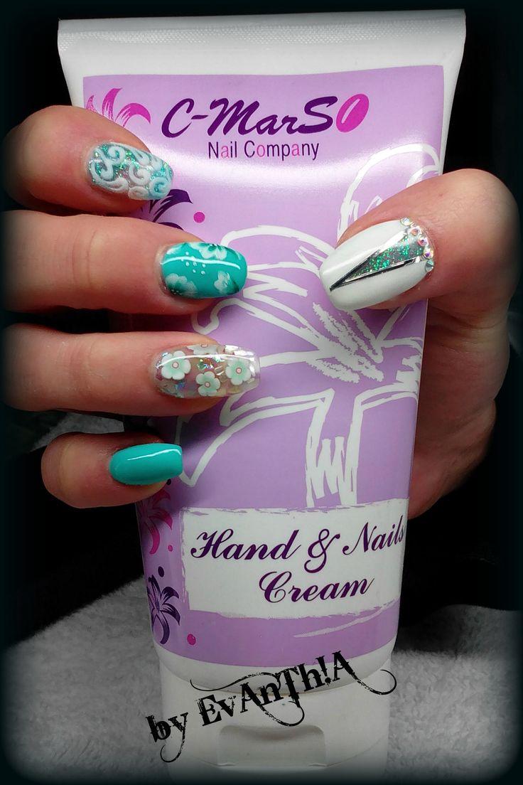#nails #gelnails #manicure #prettynails #coolnails #nails2inspire #inspiration #ballerinanails #3dvitronails #3dnails #nailart #onestroke #flowers #lightblue #white #handandnailscream #cmarso #gelpolish #longnails #by_Evanthia