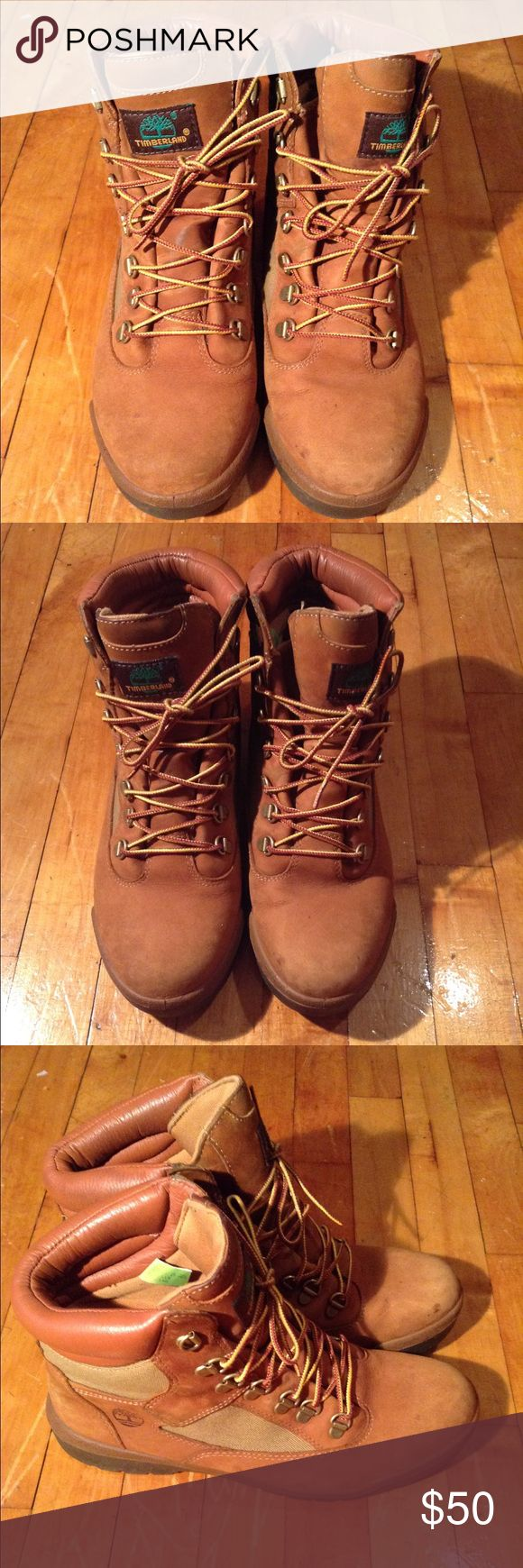"""Men's Timberland Field Boots 6"""" Sesame Men's Timberlands 6"""" Field Boots -Sesame Chicken, 8.5M  and 9M    Preowned     Has minor scuffs and creases  in front from wear.   Otherwise in good condition Timberland Shoes Boots"""