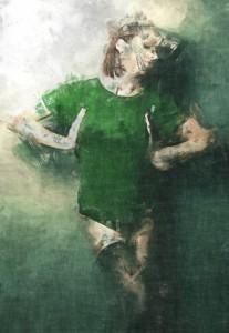 Width of my boobs, Green t-shirt, Women, Girl, Digital painting, sketch