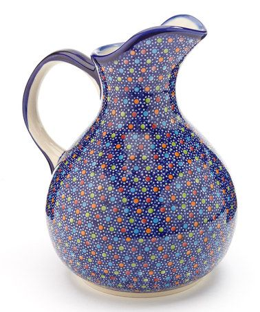 Take a look at this Blue Polka Dot Oskar Pitcher by Lidia's Polish Pottery on #zulily today!