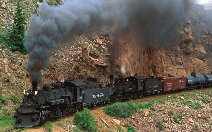 trem, locomotiva a vapor, precipício, trens de carga, vapor