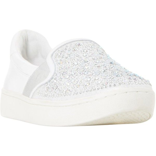 Dune Eilish Embellished Slip On Trainers ($53) ❤ liked on Polyvore featuring shoes, sneakers, white, white leather sneakers, white flat shoes, white trainers, leather flat shoes and canvas sneakers
