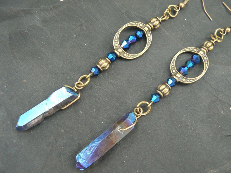 Blue goddess earrings,bohemian chic earrings,quartz earrings, yoga,mystic crystal, new age, zen, boho,festival earrings, hippie,gypsy