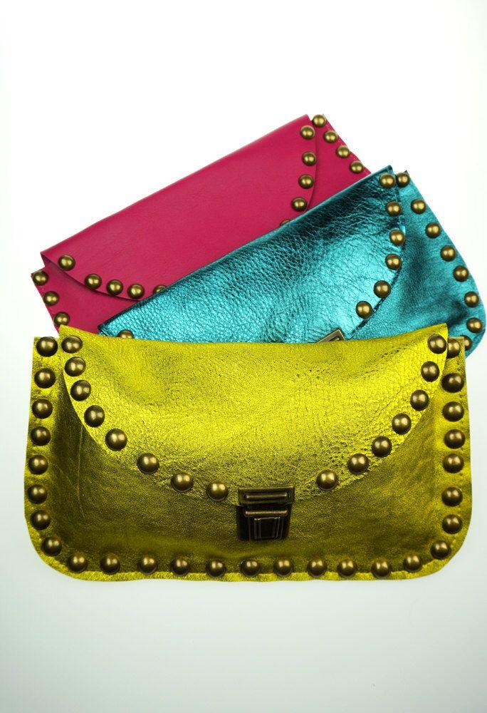 Metallic Leather Clutch with Brass Rivets/ Metallic Yellow Evening Bag/Daytime Clutch Bag/Gold Leather Clutch/Fashion Clutch  – CLYwEL7 by NeroliHandbags on Etsy https://www.etsy.com/listing/232461706/metallic-leather-clutch-with-brass