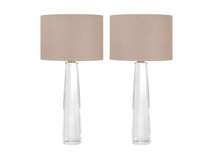 Restoration Hardware Style Faceted Crystal Column Table Lamps - A Pair