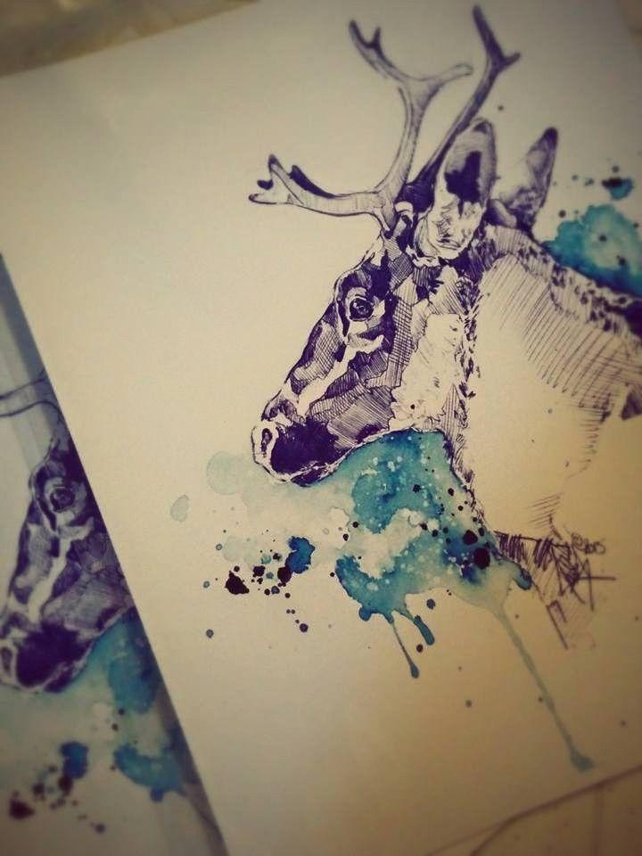 Emballage des impressions numériques de Ciel Boréal - Étude de Caribou 2015. Marie-Eve Arpin - Art sur Facebook. https://www.facebook.com/MarieEveArpinArt . Pencil Art Watercolor Animal Illustration Caribou Cervidae.