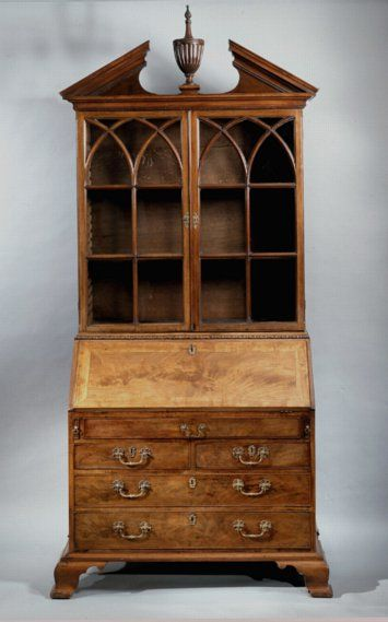 George III bureau bookcase circa 1765....earlier note described it as made of mahogany....imho, it looks more like burled walnut.
