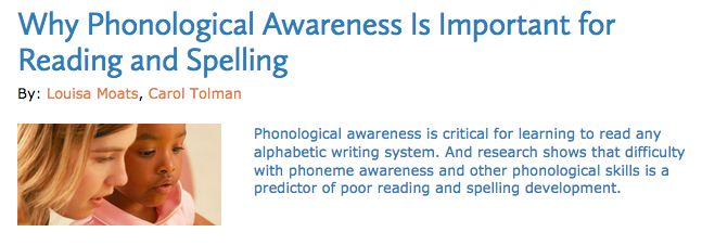 """UNDERSTANDING: The article """"Why Phonological Awareness Is Important for Reading and Spelling"""" by Moats and Tolman deepened my understanding of Phonemic Awareness as it explained how it is a complex skill to learn. I found it interesting how """"phonological skill is not strongly related to intelligence"""". This contributed to my understanding as I am now aware that the skills is not always """"natural or easily acquired"""", which I will be more conscious of when assisting struggling students."""
