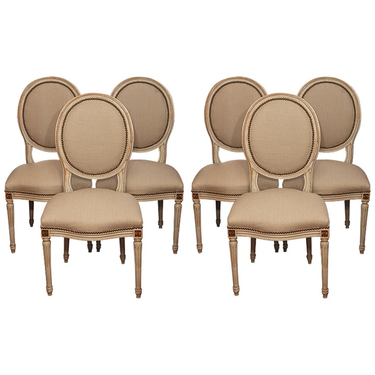 Set Of 6 Louis XVI Style Dining Room Chairs