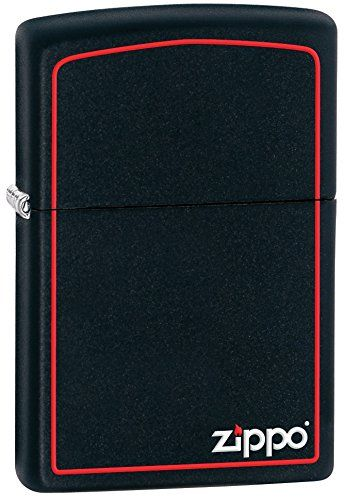 Zippo Black Matte with Border & Logo Lighter – Mechero, color negro mate